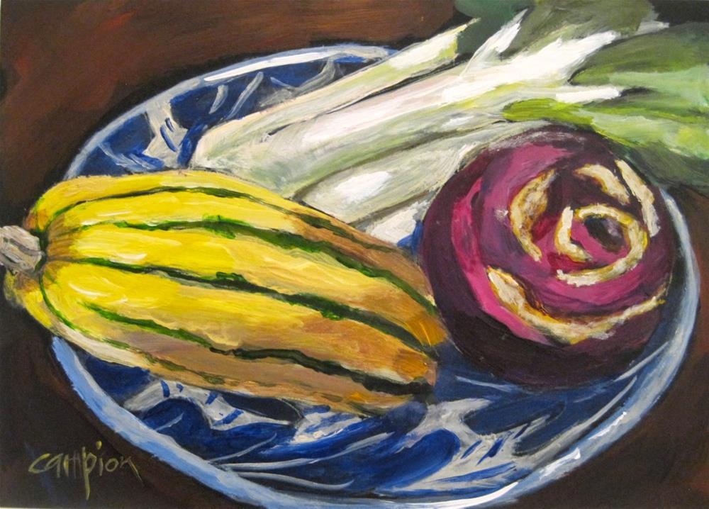 """477 Delicata, Kohlrabi and Bok Choy"" original fine art by Diane Campion"