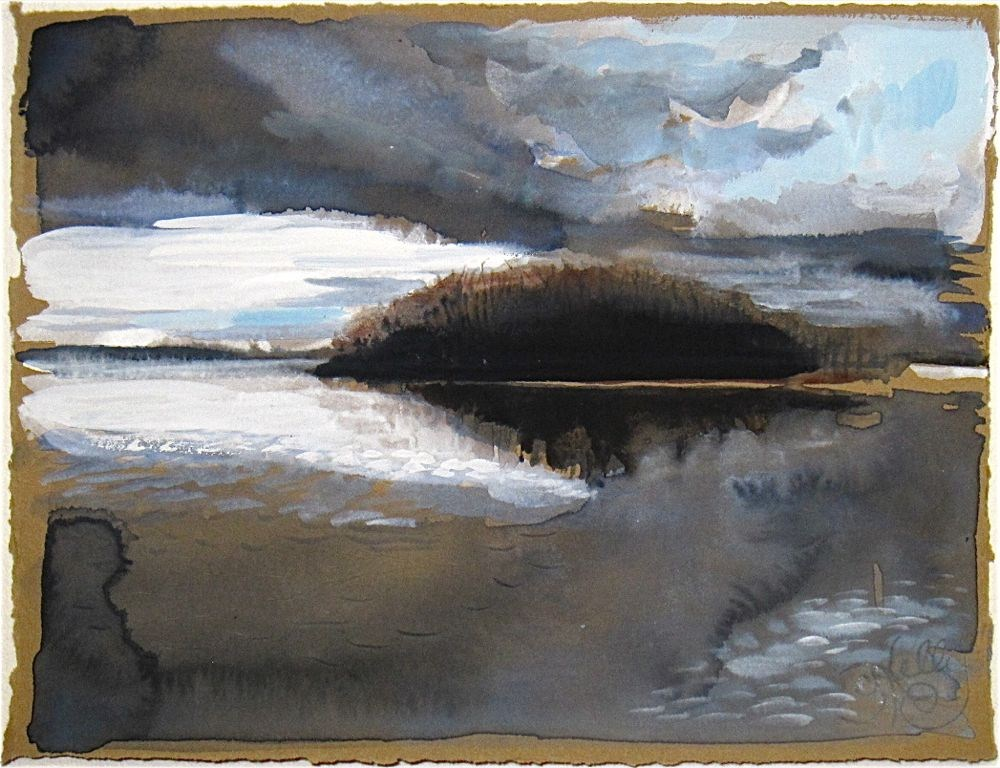 Inevitable Downpour on the Hudson by Gretchen Kelly, miniature watercolor painting, riverscape original fine art by Gretchen Kelly
