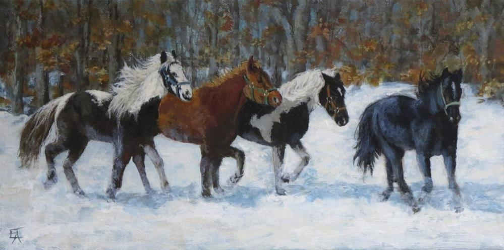 """Horses in the Snow"" original fine art by Elizabeth Elgin"