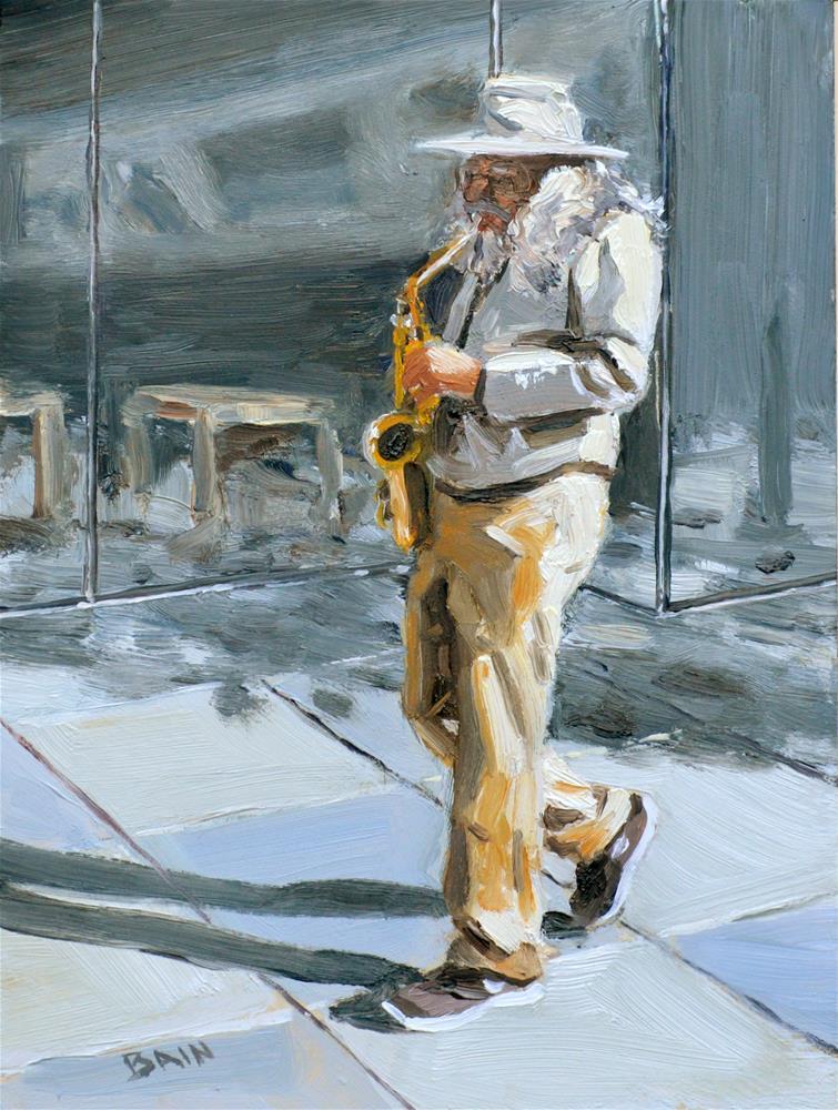 """""""Sax Player"""" original fine art by Peter Bain"""