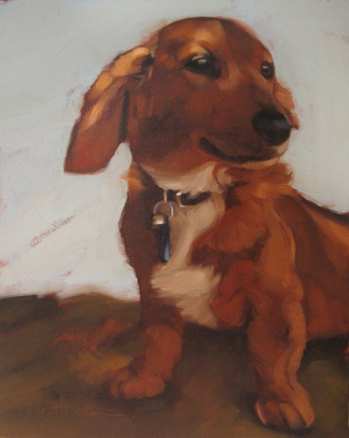 """Weiner Dog pet portrait oil painting Hoeptner"" original fine art by Diane Hoeptner"