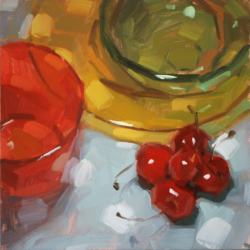 """Colored Glass & Cherries"" original fine art by Carol Marine"