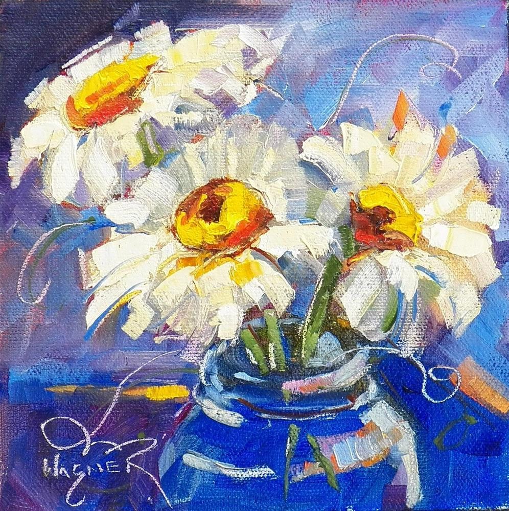 """SMALL DAISY PAINTING"" original fine art by Olga Wagner"