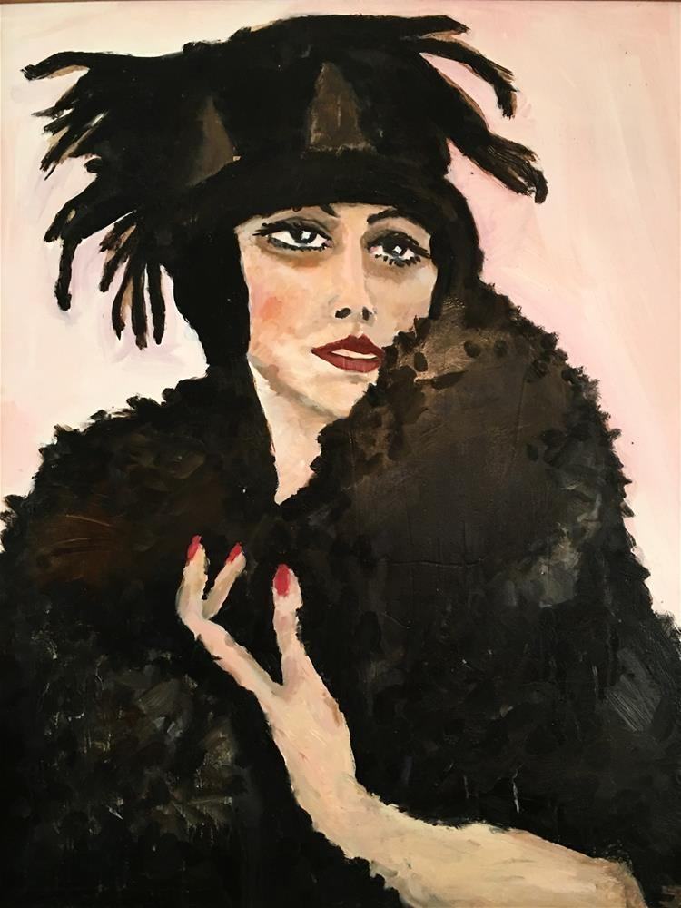 """Feathers on Her Hat"" original fine art by Nava Judith"