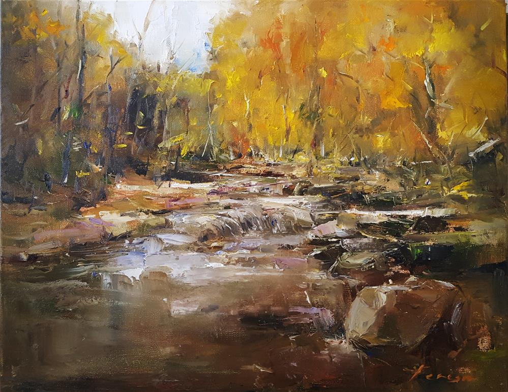 """The calm rushing water of the forest..!"" original fine art by Teresa Yoo"