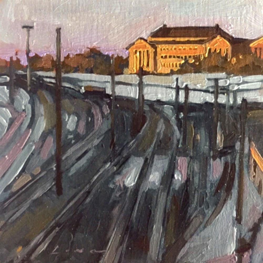 """Philadelphia Train Yard"" original fine art by Chris Long"