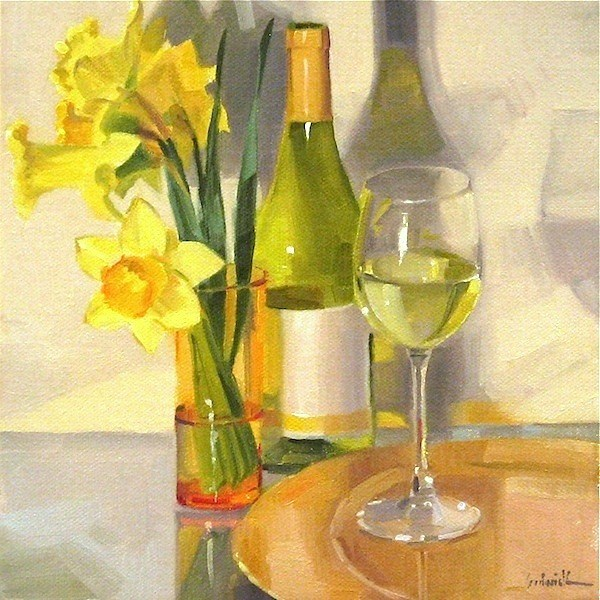 """A Glass of Chardonnay white wine art painting still life flowers oil on canvas"" original fine art by Sarah Sedwick"