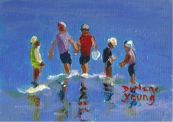"""951 Five Brothers Beach Kids, miniature 2.5x3.5, oil on board"" original fine art by Darlene Young"