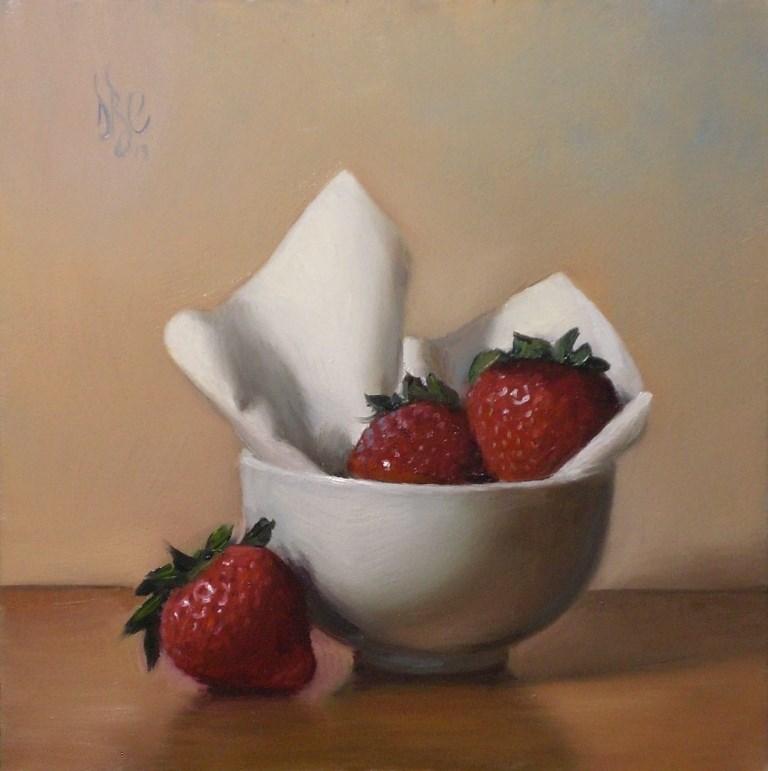 """Strawberries in White"" original fine art by Debra Becks Cooper"
