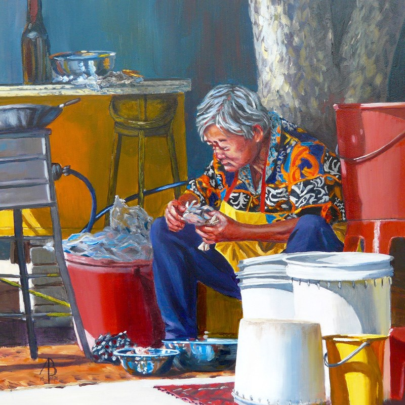 """Cleaning crabs, Penang"" original fine art by Alix Baker"