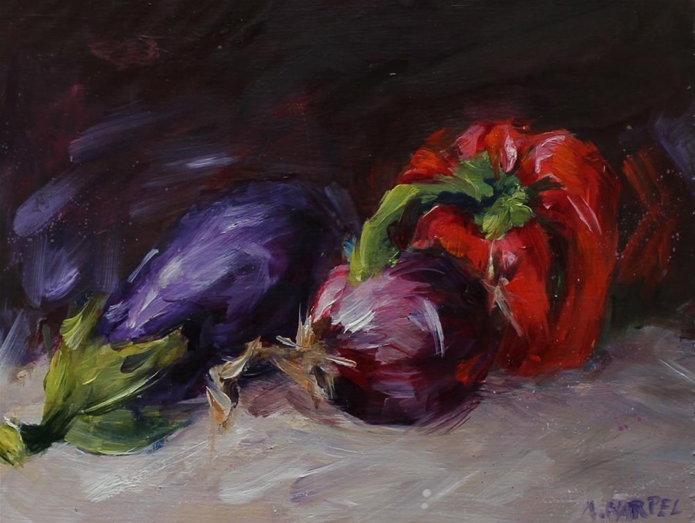 """Original oil  eggplant pepper painting"" original fine art by Alice Harpel"