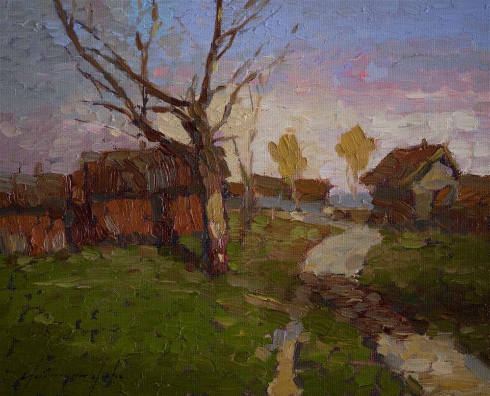 """Village Way Original oil Painting on Canvas Impressionism"" original fine art by V Y"