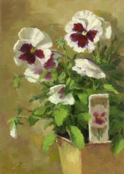 """Pansies"" original fine art by Linda Jacobus"