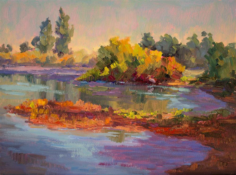 """HERON'S MORNING HUNT"" original fine art by Karen E Lewis"