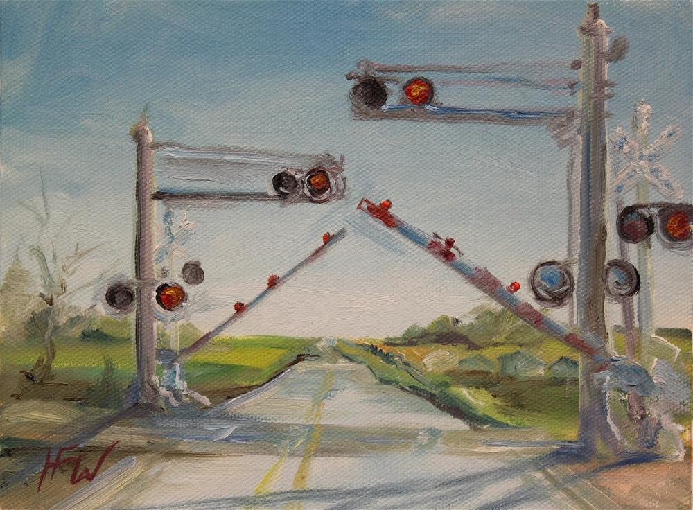 """Railroad crossing"" original fine art by H.F. Wallen"