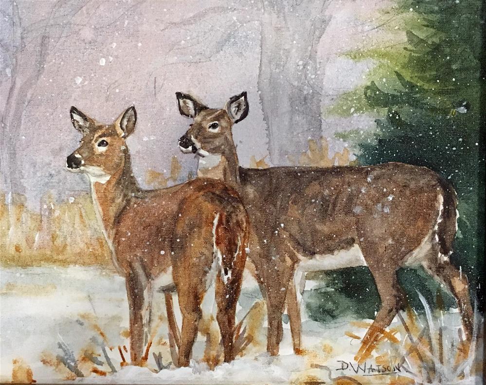 """Deer In Winter"" original fine art by Deb Watson"