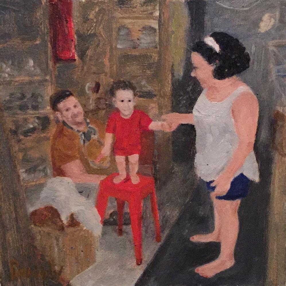 """""""Boy on Red Stool"""" original fine art by Stephanie Drawdy"""