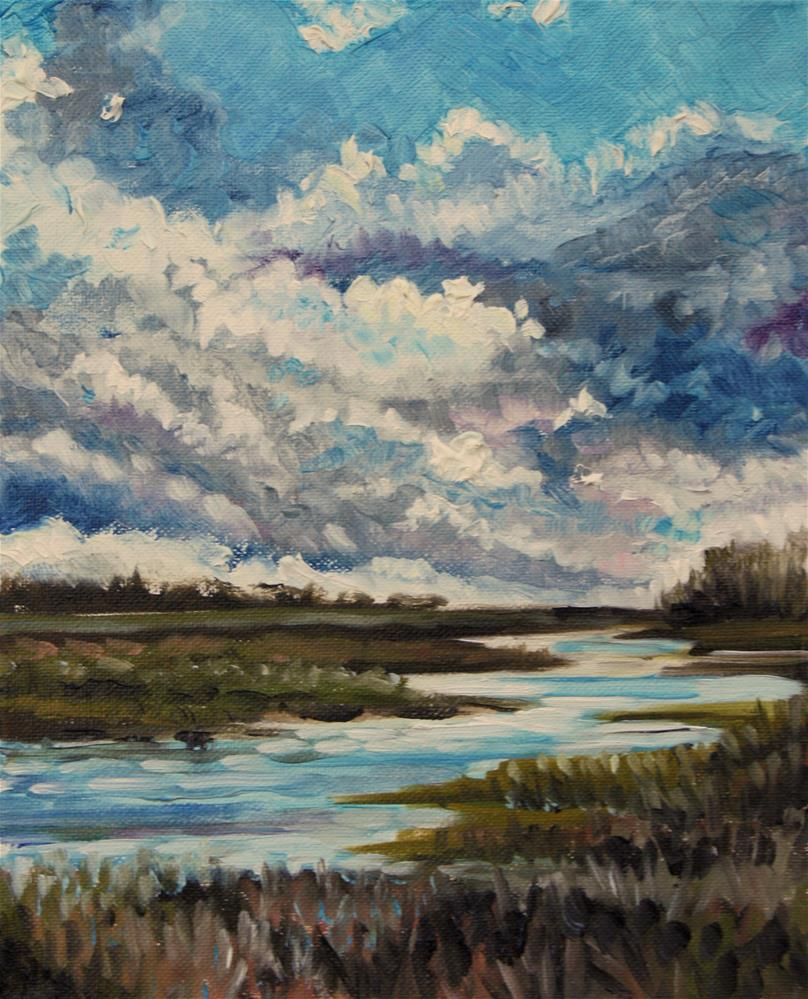 """""""Creek in March on a blustery day"""" original fine art by Hilary J. England"""