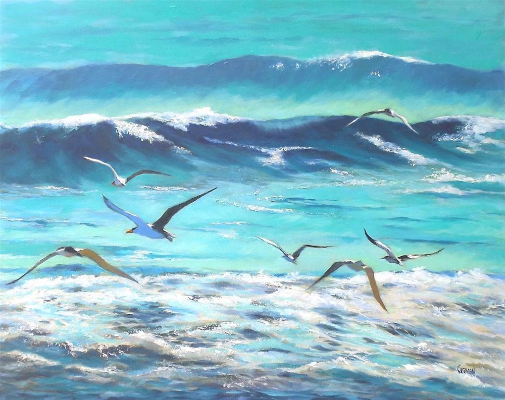 """""""Breakfast Club, 16x20 Seascape on Canvas"""" original fine art by Carmen Beecher"""