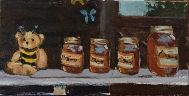 """Oh, Honey!, 6x12 Acrylic Painting by Kelley MacDonald"" original fine art by Kelley MacDonald"