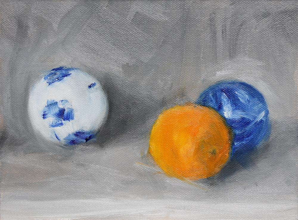 """Orange and Blue"" original fine art by Karen Solorzano"