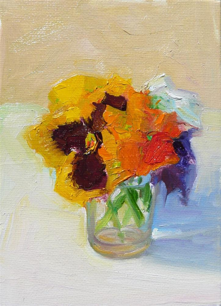 """Garden Pansies in Glass,still life,oil on canvas,7x5,price$175"" original fine art by Joy Olney"
