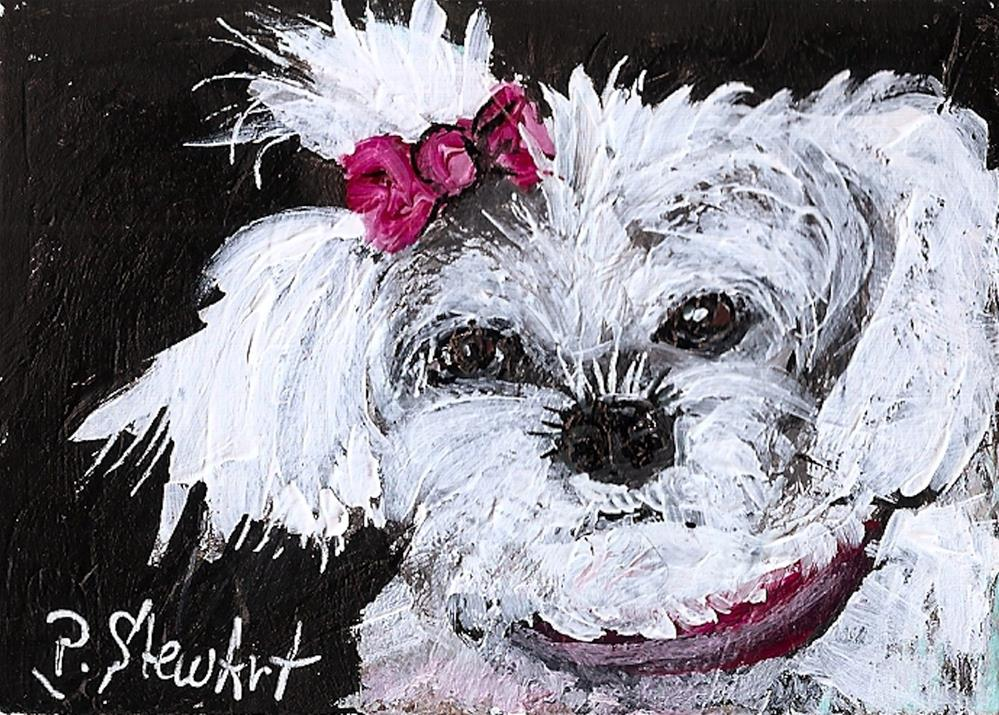 """ACEO White Fluffy Dog with Pink Bow, Original Art, painted in Acrylics"" original fine art by Penny Lee StewArt"