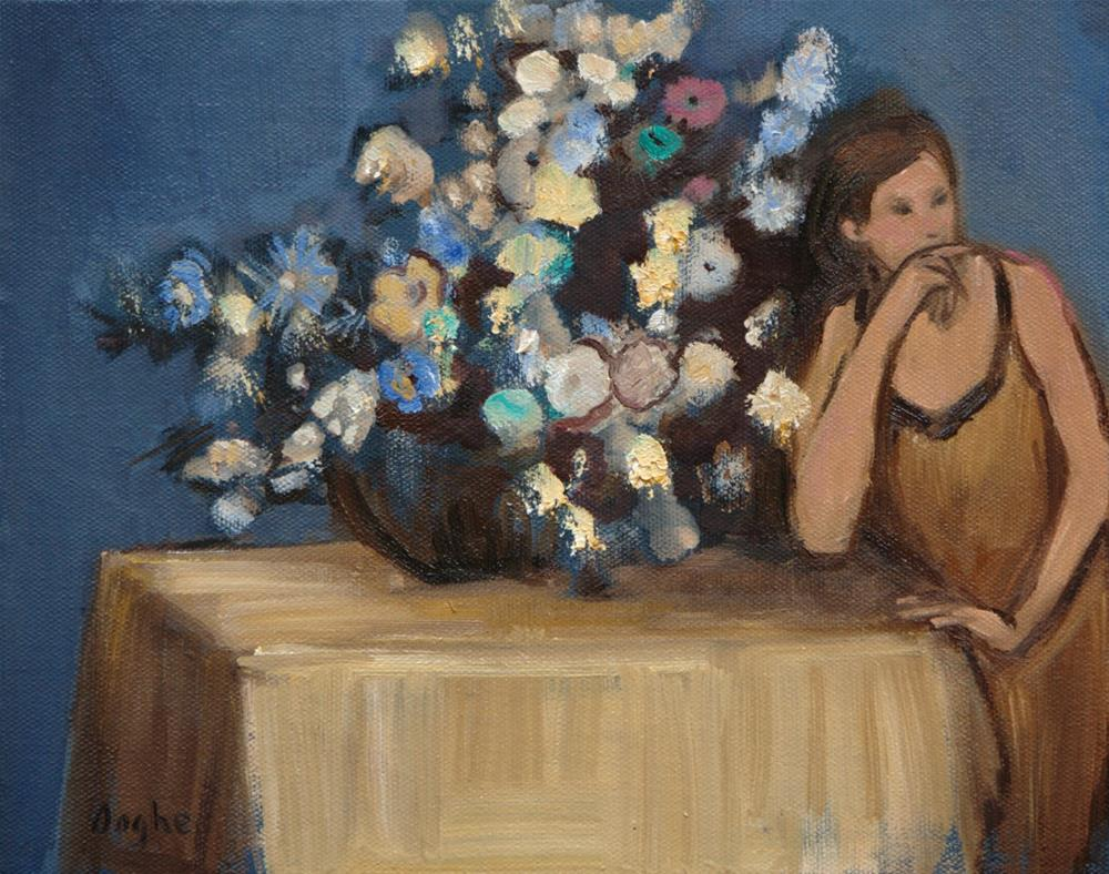"""Woman Beside a Vase of Flowers After Degas"" original fine art by Angela Ooghe"