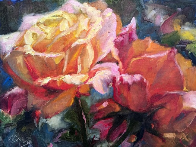 """Yellow and Pink"" original fine art by Jenny Buckner"