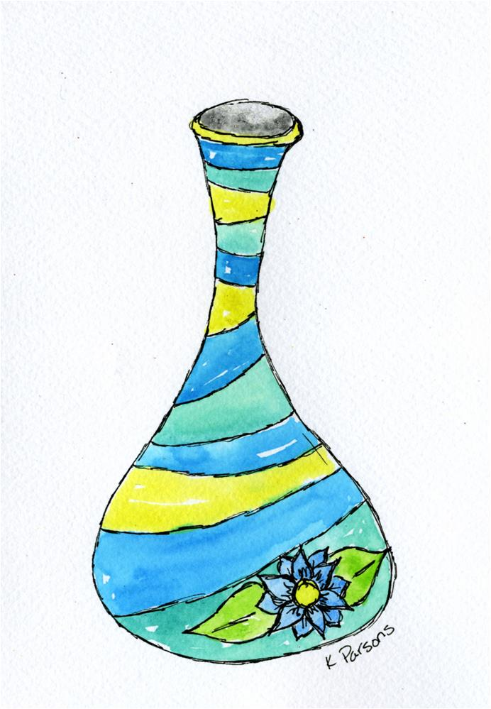"""Striped Urn"" original fine art by Kali Parsons"