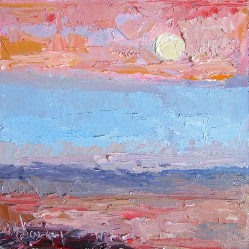 """Pink Dusk Moon"" original fine art by Carol Steinberg"
