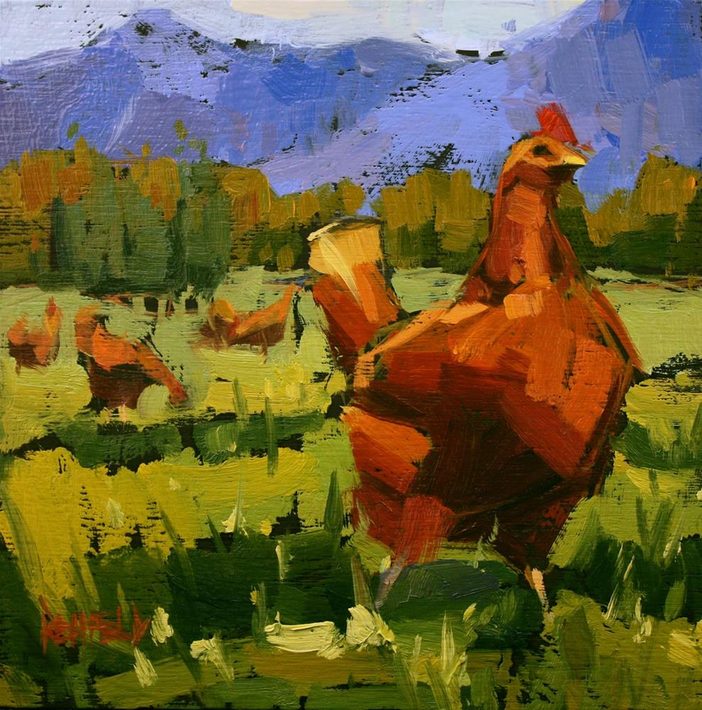 """Columbia Gorge Chickens"" original fine art by Cathleen Rehfeld"