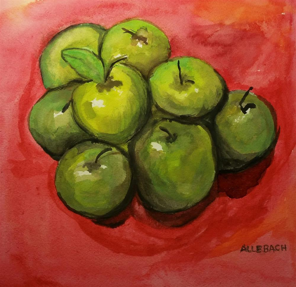 """Bunch of Green Apples"" original fine art by Jo Allebach"