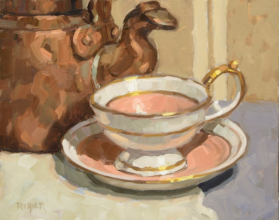 """DAY 30: Royal Bayreuth with Copper Kettle"" original fine art by Stuart Roper"