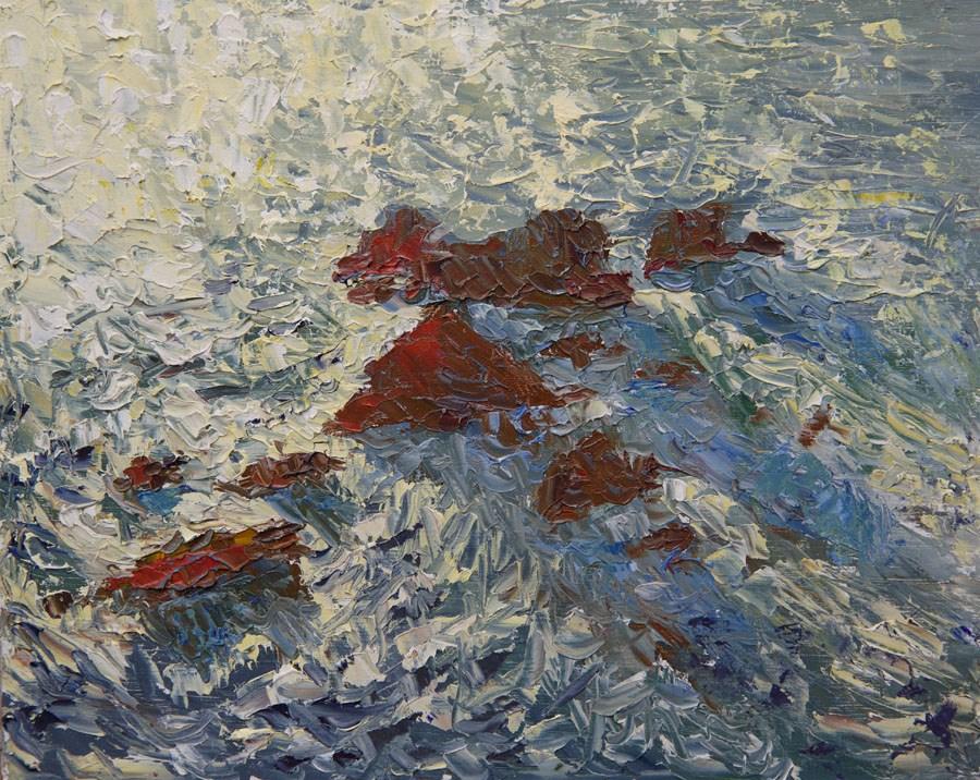 """Ocean Rocks"" original fine art by Jethro Knight"