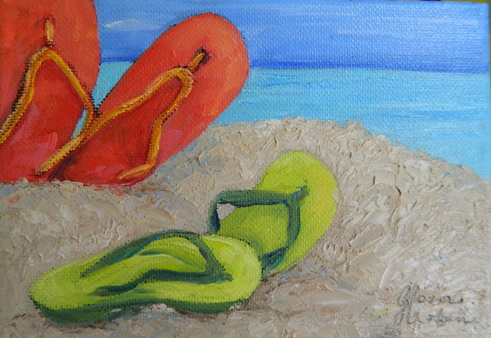 """Toes in the Sand"" original fine art by Gloria Urban"
