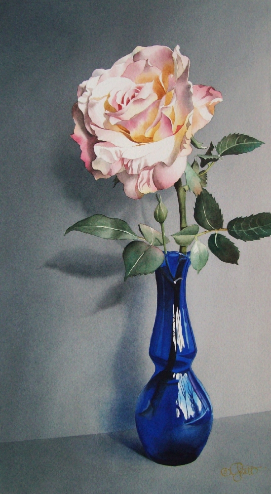 """Still Life with Blue Vase"" original fine art by Jacqueline Gnott, whs"