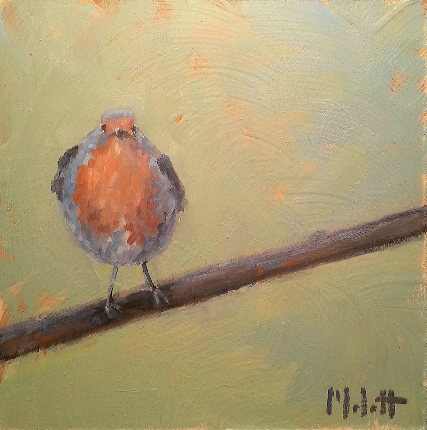 """Flirt Bluebird Painting Original Daily Oil Painting"" original fine art by Heidi Malott"