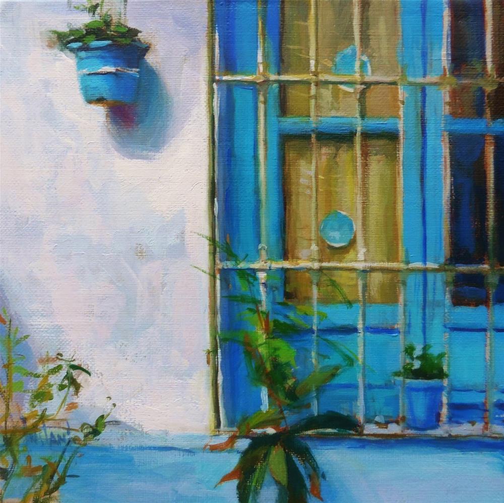 """Blue window"" original fine art by Víctor Tristante"