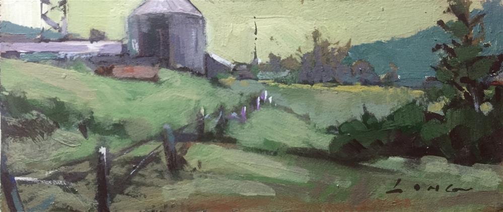 """Mountain Farm"" original fine art by Chris Long"