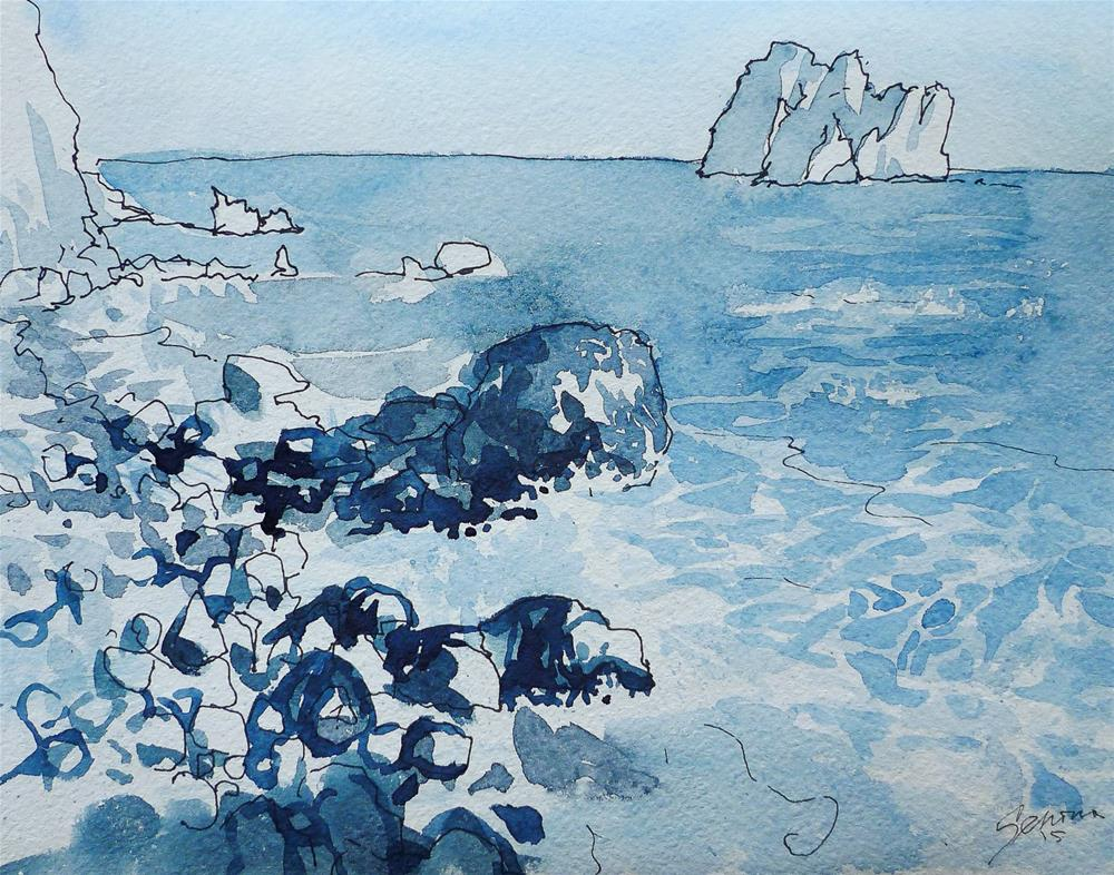 """View from the Shaliapin's Rock, Gurzuf, Crimea"" original fine art by Elena Senina"
