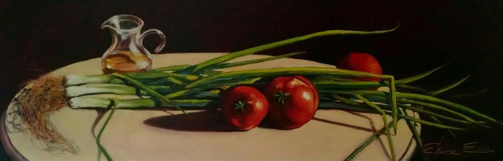 """Scallions #3"" original fine art by Elaine Evans"