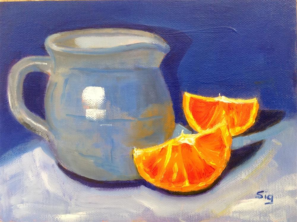 """Pitcher & Oranges"" original fine art by Sigrid Victor"