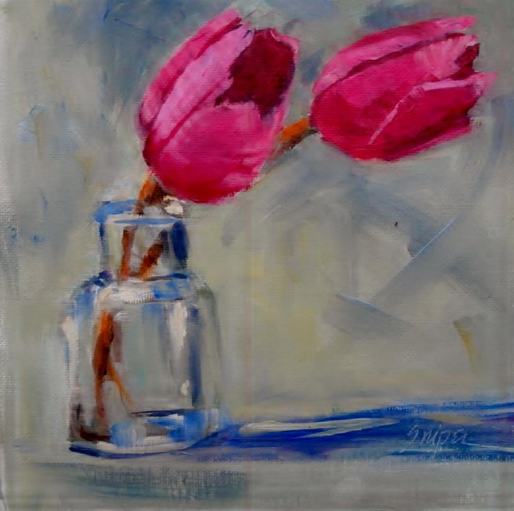 """Rosy Tulips"" original fine art by Connie Snipes"