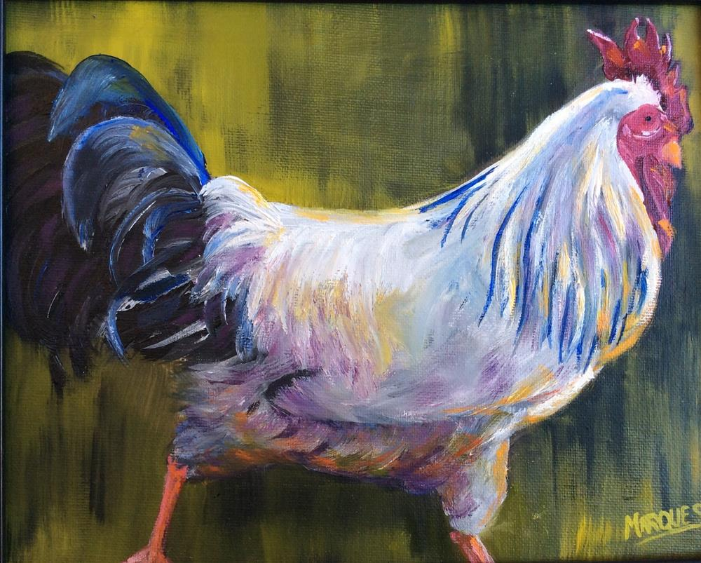 """Almost white Rooster"" original fine art by Kathy Marques"