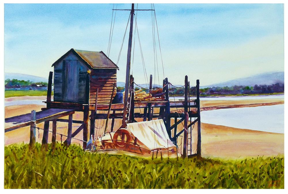 """Old shed and jetty."" original fine art by Graham Berry"