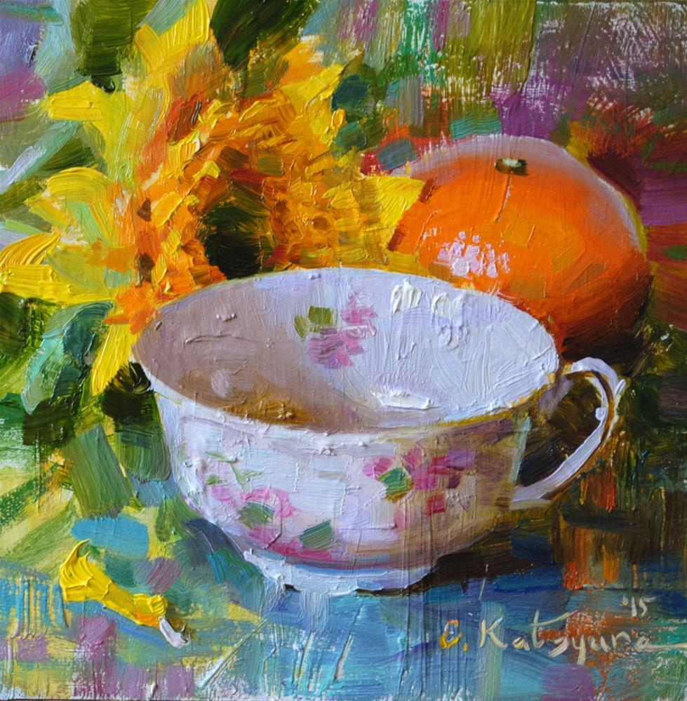 """Sunflower Teacup and Orange"" original fine art by Elena Katsyura"