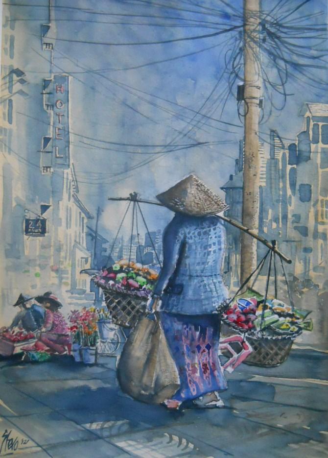 """The fruit sellers in Ho Chi Min"" original fine art by Martin Stephenson"