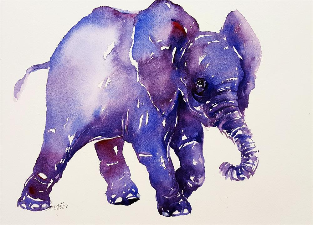 """Inky Blue Baby Elephant"" original fine art by Arti Chauhan"
