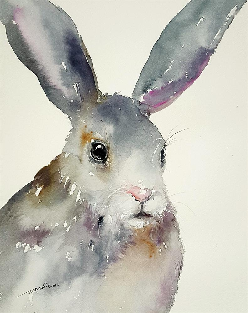 """Gina the Grey Rabbit"" original fine art by Arti Chauhan"